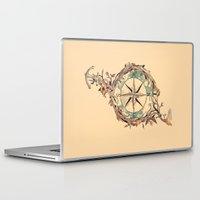 orange Laptop & iPad Skins featuring Bon Voyage by Norman Duenas