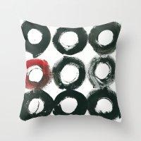 Black Circle Red Circle Throw Pillow