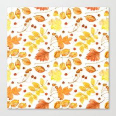 Watercolor autumn leaves seamless pattern on white background. Maple leave, hawthorn leave, birch le Canvas Print