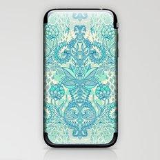 Botanical Geometry - nature pattern in blue, mint green & cream iPhone & iPod Skin