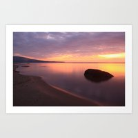 Fiery Sunset over the Porkies Art Print