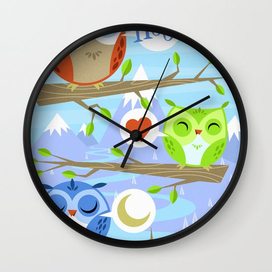 Owl Hangout With You Wall Clock