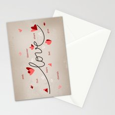 Love, Butterfly Hearts & Text Unique Valentine Stationery Cards