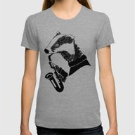 Badger Saxophone Womens Fitted Tee Tri-Grey LARGE