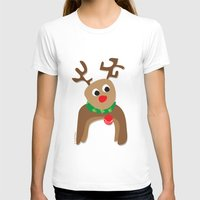 Santa's Reindeer Womens Fitted Tee White SMALL