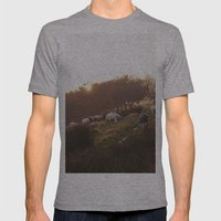 Sheep Grazing On Hillsid… Mens Fitted Tee Athletic Grey SMALL