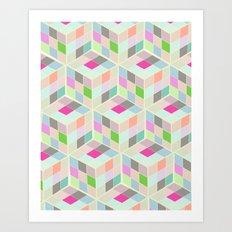 Rubic Cube Pattern Art Print