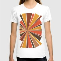 70's Star Burst Womens Fitted Tee White SMALL