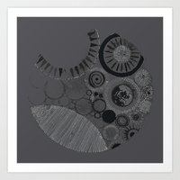 Abstract Geode Doodle Design in Charcoal Art Print