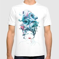 A girl with aqua hair Mens Fitted Tee White SMALL