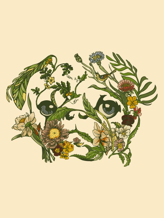 Botanical Pug Art Print