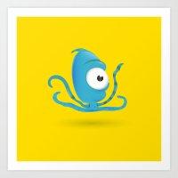 Octopus Blue/Yellow Art Print
