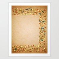 Gold Orange Trumpet Vine… Art Print