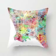 Los Angeles Map Californ… Throw Pillow