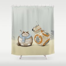 CAT AND DROID Shower Curtain