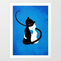 White And Black Cats In … Art Print