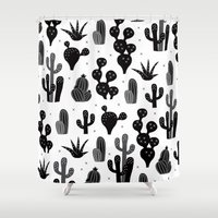 Cactus garden black and white Shower Curtain