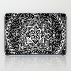 White Flower Mandala on Black iPad Case