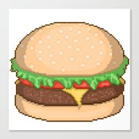 Cheeseburger Pixel Canvas Print