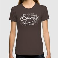ETERNITY IN HEARTS Womens Fitted Tee Brown SMALL