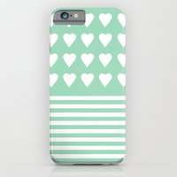 Heart Stripes Mint iPhone 6 Slim Case