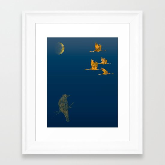 Moon-lit Flight Framed Art Print
