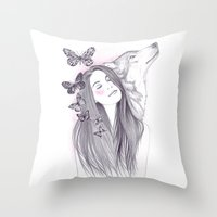 Wolf To The Moon Throw Pillow