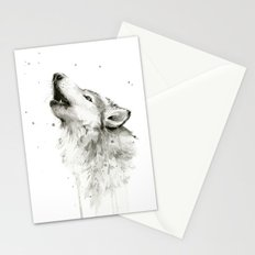 Wolf Howling Watercolor Wildlife Painting Stationery Cards