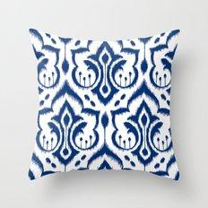 Ikat Damask Navy Throw Pillow