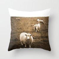 Sheep in a field Throw Pillow