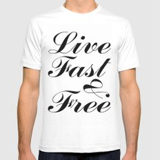 live fast & free White SMALL Mens Fitted Tee