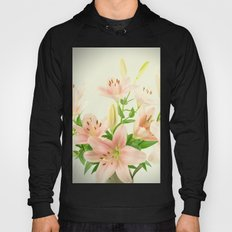 Beautiful vintage blush pink white green lilies flowers photo Hoody
