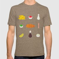 Fish & Chips Mens Fitted Tee Tri-Coffee SMALL