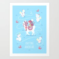 Knitting Adventure Art Print
