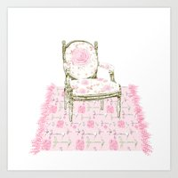 Shabby Chic Arrows Rug and French Chair Art Print