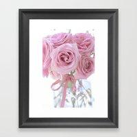 Cottage Pink Pastel Roses Framed Art Print