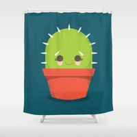 Kawaii Cactus Dude Shower Curtain