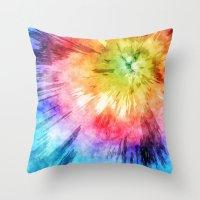 Tie Dye Watercolor Throw Pillow