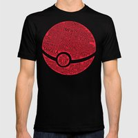 Pokemon Typography Mens Fitted Tee Black SMALL