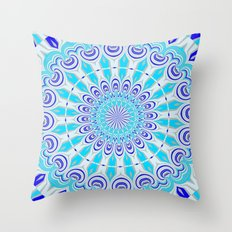 mandala blue Throw Pillow