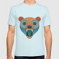 Geometric Bear Mens Fitted Tee Light Blue SMALL
