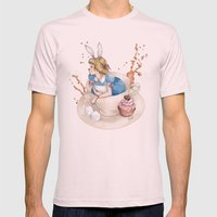 Tea Time in Wonderland Mens Fitted Tee Light Pink SMALL