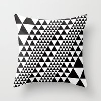B/W equilateral triangles pattern Throw Pillow