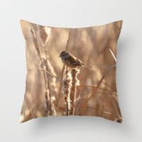 A Sparrow on Catails Throw Pillow