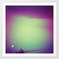 Moon, trees & birds Art Print