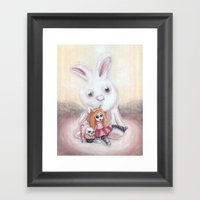 Ester and Bunny Framed Art Print
