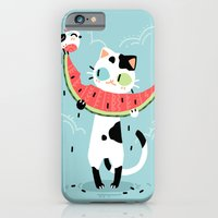 iPhone & iPod Case featuring Watermelon Cat by Freeminds