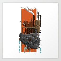 Pixel Landscape : Steam Factory Art Print