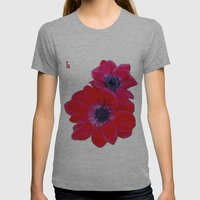 Velvet Red Poppy Anemone… Womens Fitted Tee Athletic Grey SMALL