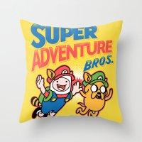 Super Adventure Bros Throw Pillow